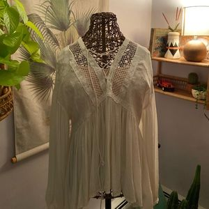 Free people flowy white boho top size small